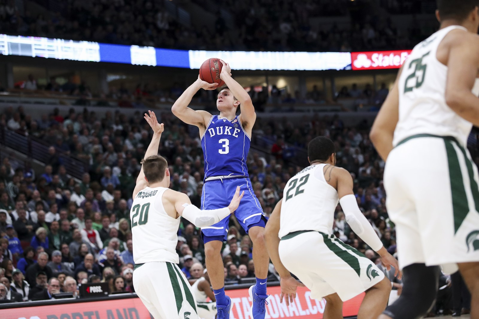 2fb202ab908 Duke guard Grayson Allen hit five of his seven 3-pointers during the second  half Tuesday night against Michigan State at the United Center.