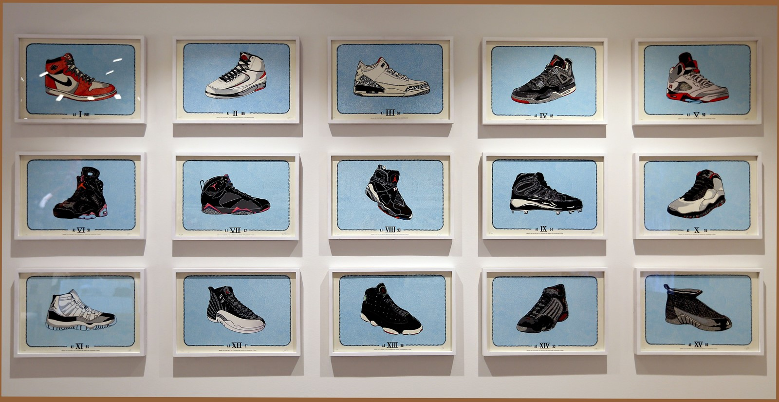 State Street store artwork in Chicago in 2015 shows the evolution of the Nike  Air Jordan. More men are beefing up their sneaker roster. 5c5514686