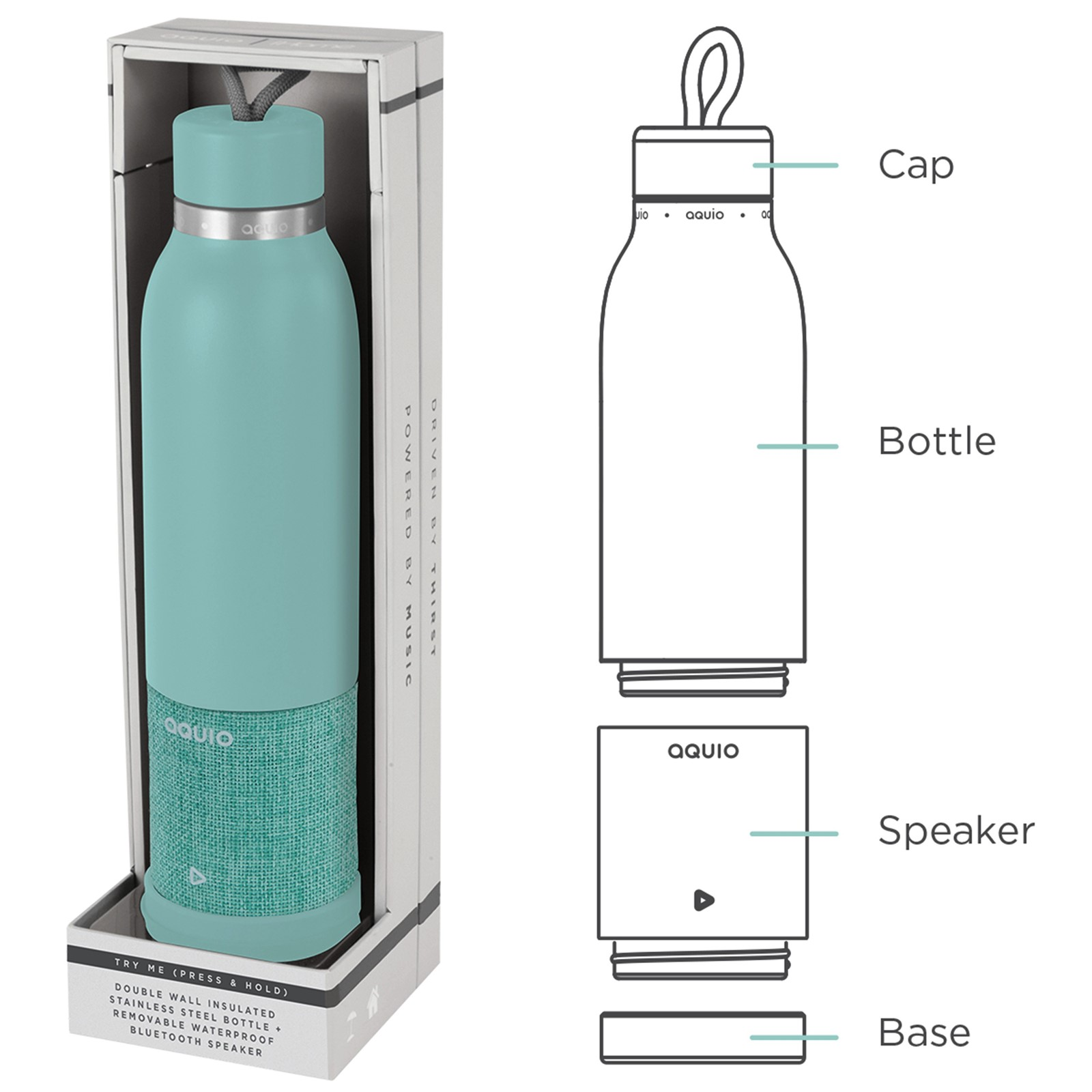 Aquio Double-Walled Stainless Steel Insulated Water Bottle With Bluetooth Speaker By iHome