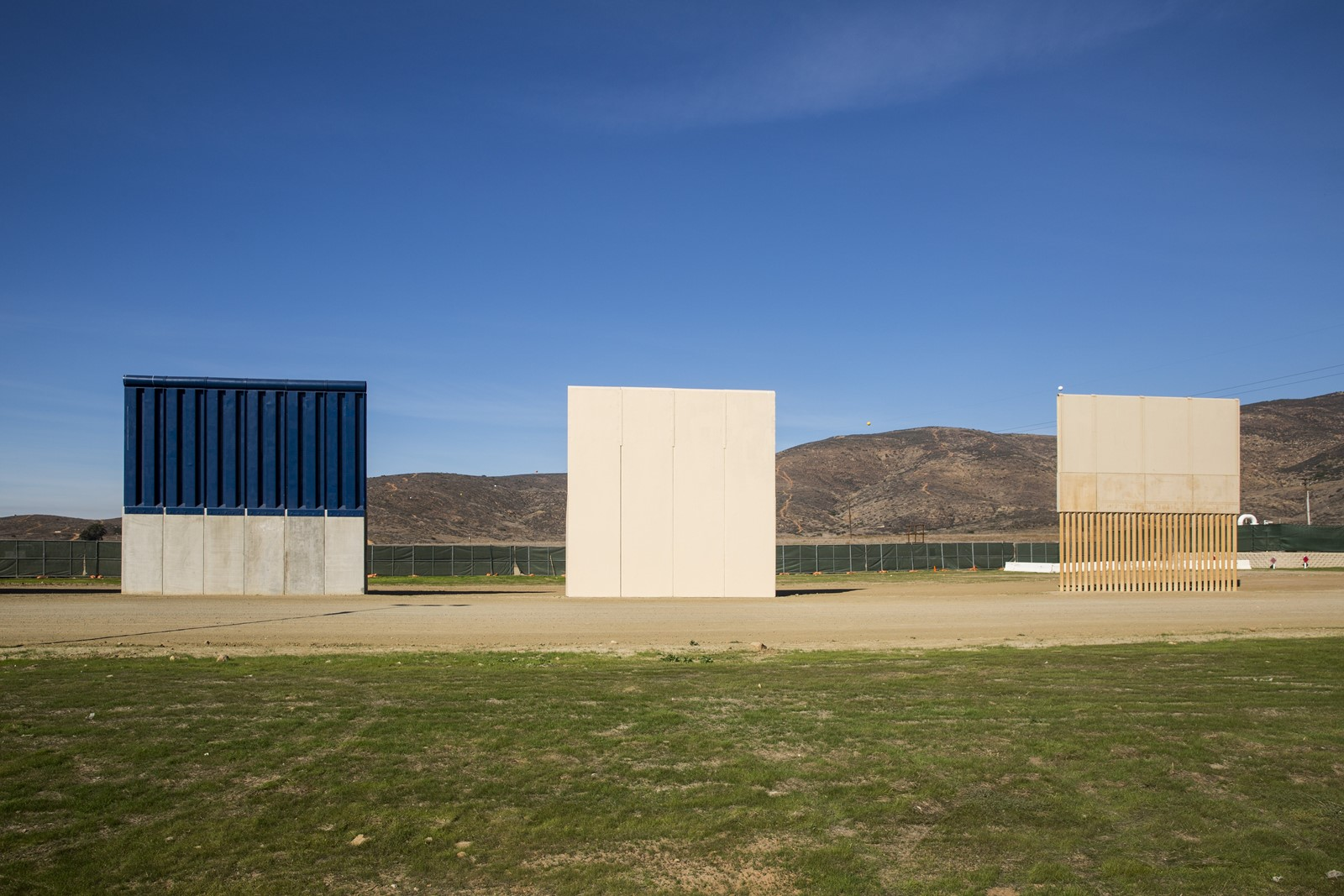 Wall prototypes along the U.S.-Mexico border in February. California has sued over the proposed wall. — Photograph: Kent Nishimura/Los Angeles Times.