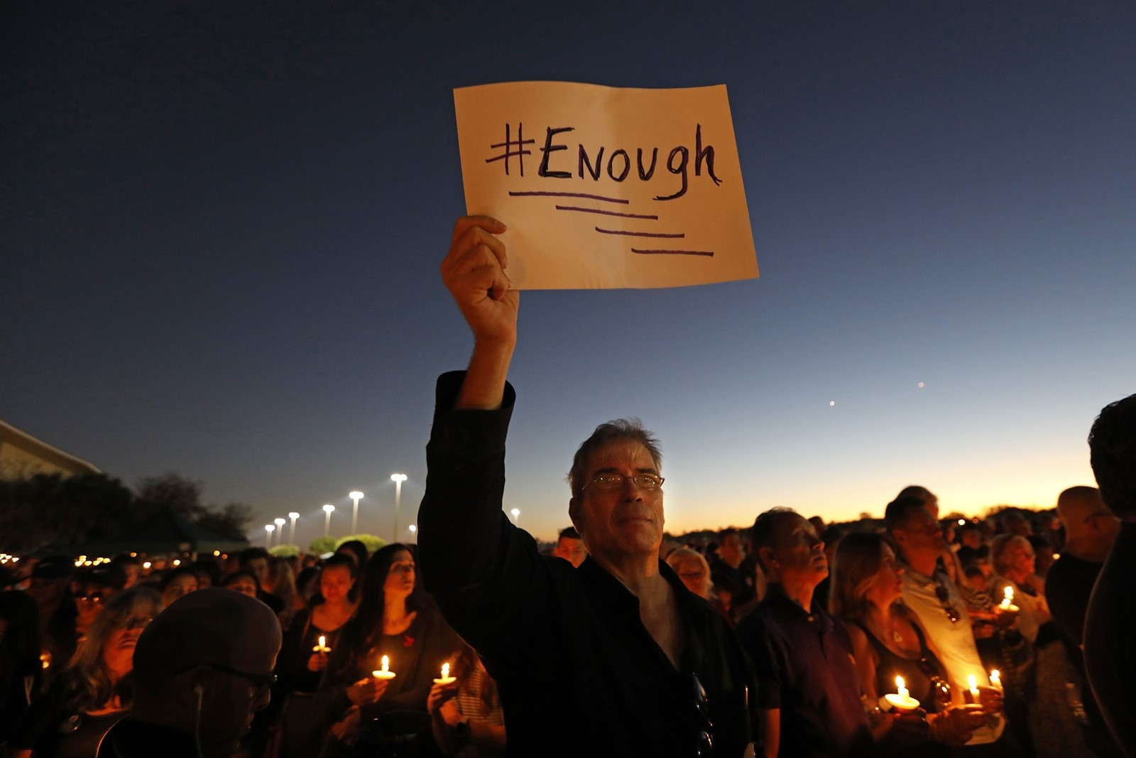 Thousands held a vigil in Parkland, Florida, the day after 17 people were killed in the latest mass shooting. — Photograph: Carolyn Cole/Los Angeles Times.
