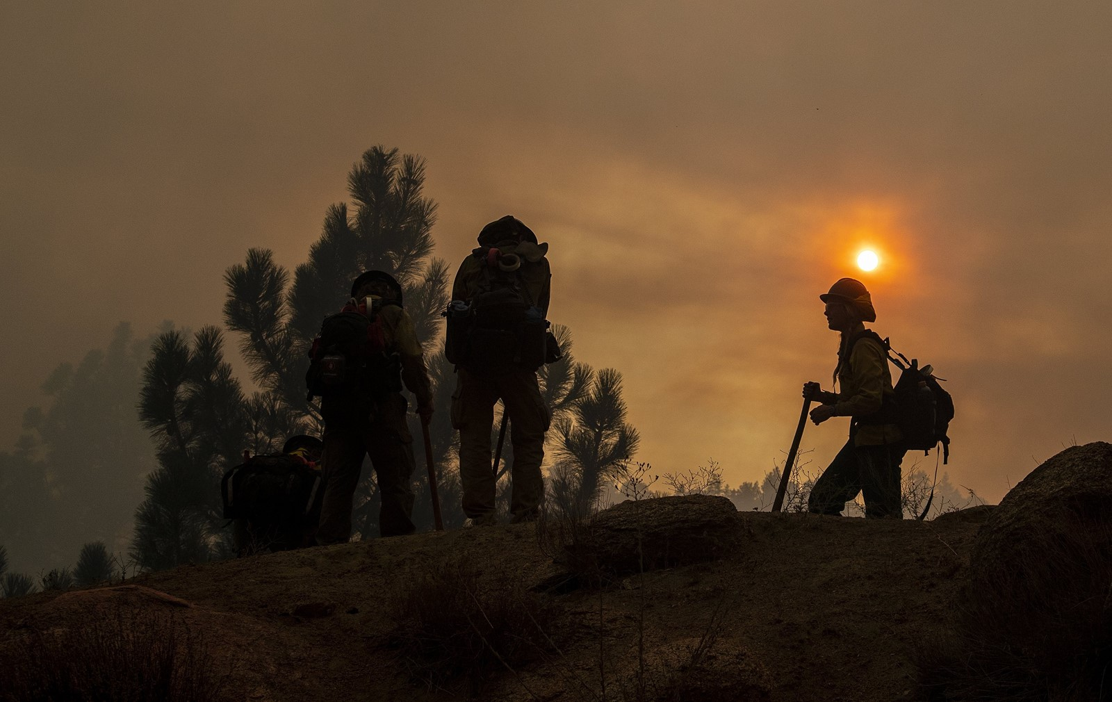 "A fire crew fights the Cranston fire near Idyllwild on Wednesday. ""It came up on us really, really quickly. Within a half-hour, the whole town was overwhelmed with flames,"" resident Joe Achtner said. — Photograph: Gina Ferazzi/Los Angeles Times."
