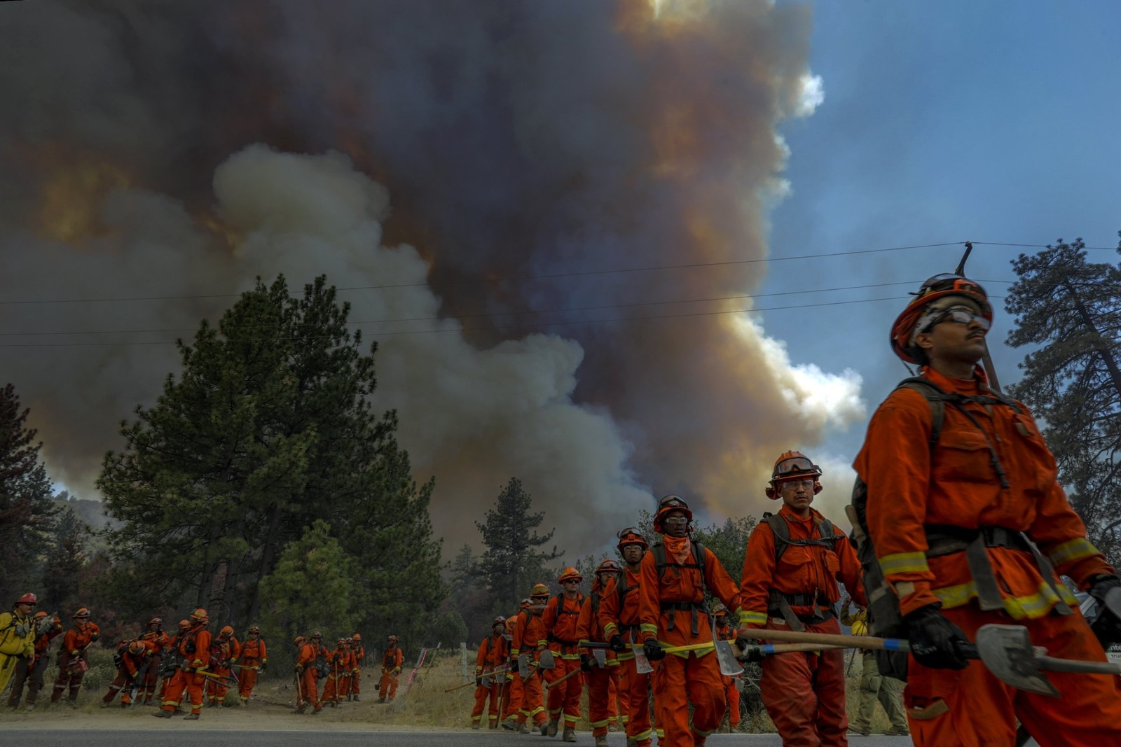 Members of a hand crew fight the Cranston fire raging in Mountain Center. As of Thursday afternoon, the blaze had charred 7,500 acres and was 5% contained. — Photograph: Irfan Khan/Los Angeles Times.