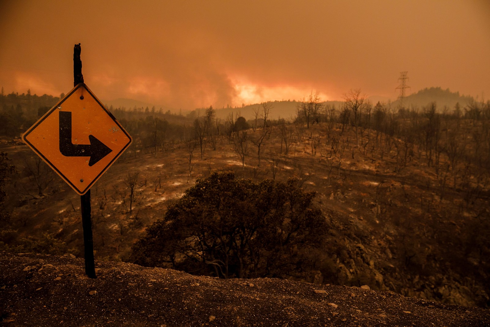 Fire destruction in the rural areas outside Redding, California. Last week's fire vortex adds a layer of unpredictability and danger. — Photograph: Marcus Yam/Los Angeles Times.