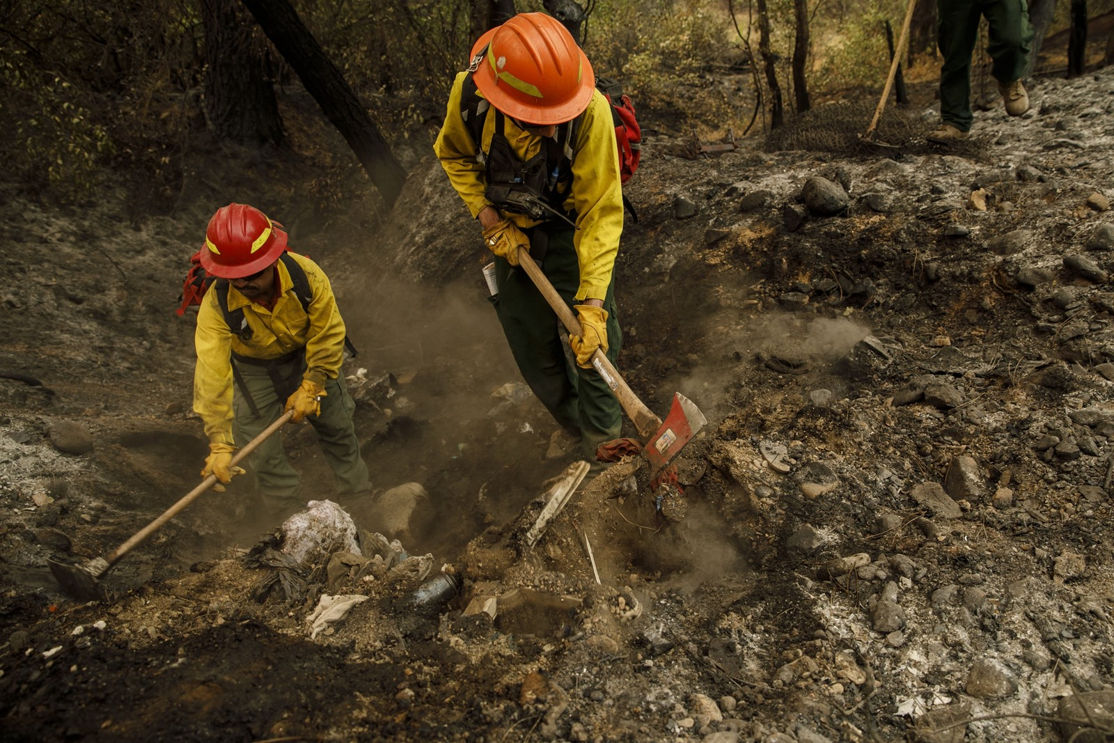 Firefighters from R&R Contracting in Oregon perform mop-up work on the Carr fire near Redding, California. A 2007 report by the American Immigration Council found that a significant number of wildland firefighters were immigrants, mostly Mexican-born men. — Photograph: Marcus Yam/Los Angeles Times.