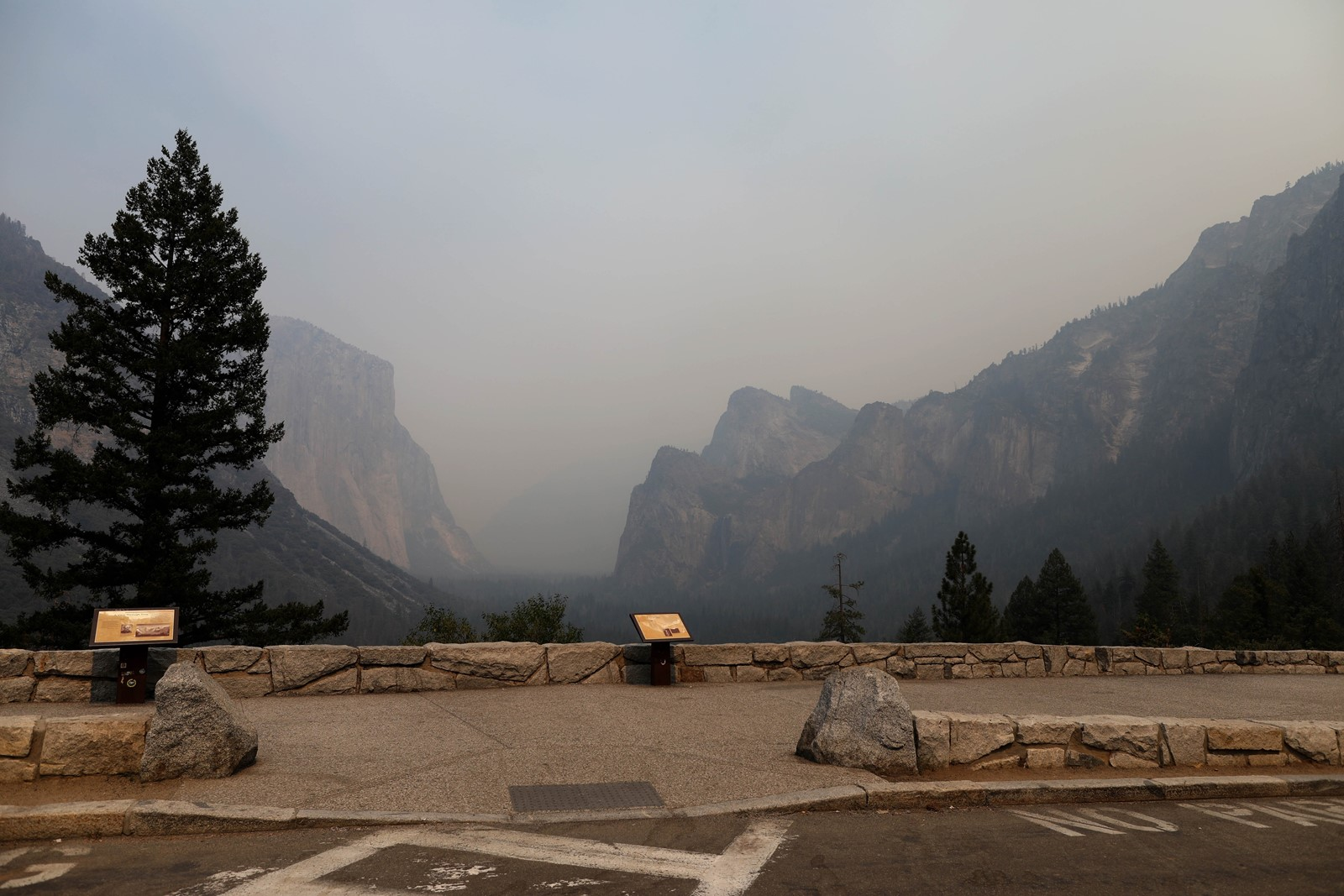 Yosemite Valley the national park's most popular destination, has been closed as a precaution since July 25 due to threats from the massive Ferguson fire. — Photograph: Gary Coronado/Los Angeles Times.