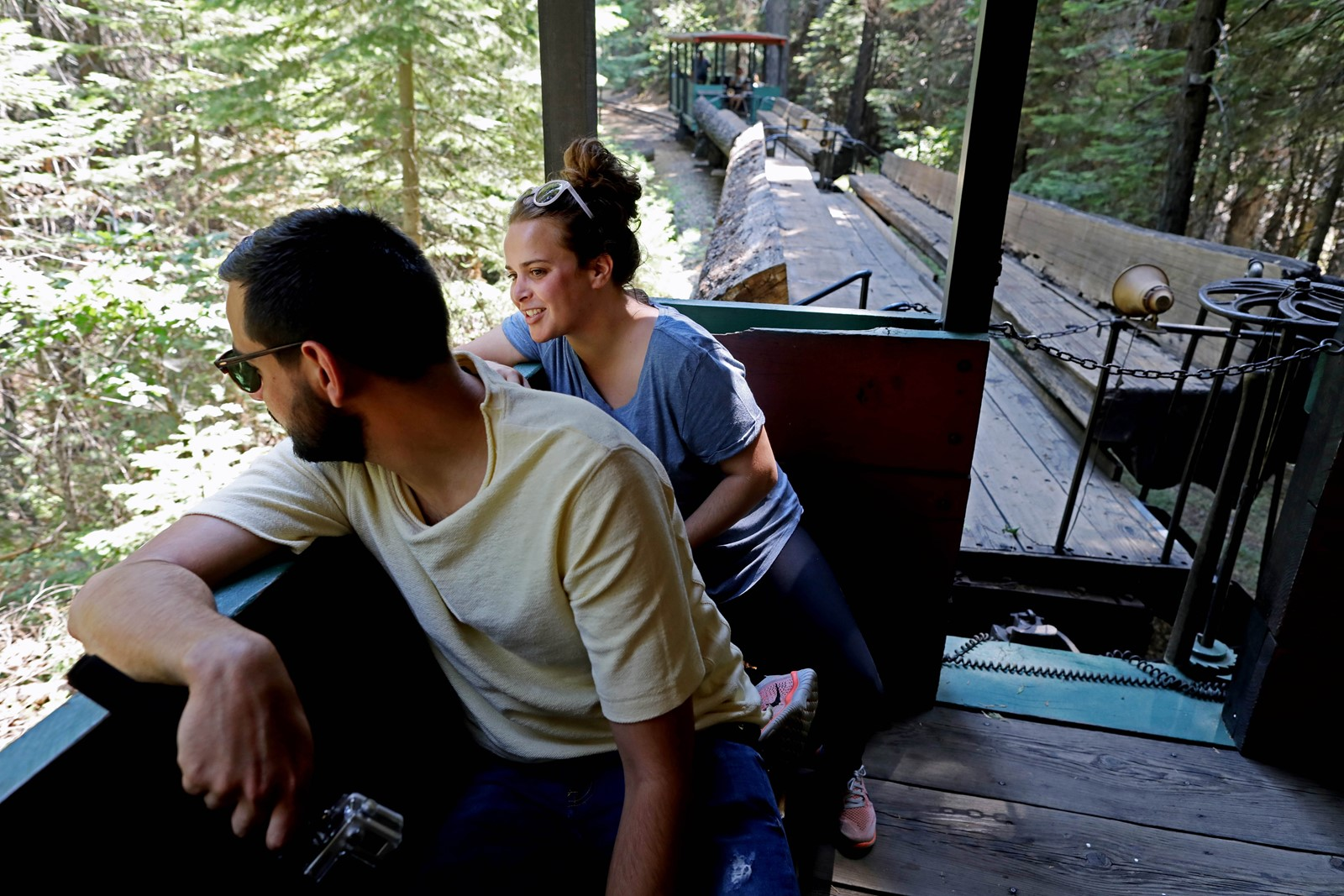 Benjamin Chevelle and Celia Leonardo ride the Sugar Pine Railroad, which normally carries hundreds of guests in the summer. — Photograph: Gary Coronado/Los Angeles Times.