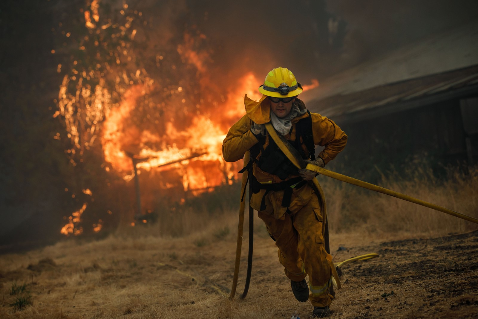 A West Covina firefighter pulls a hose as the River fire consumes a barn near Lakeport, California, on Tuesday. Containment is increasing on the 42,200-acre blaze, though another nearby grew quickly to 115,250 acres. There are 16 large wildfires burning throughout California. — Photograph: Marcus Yam/Los Angeles Times.
