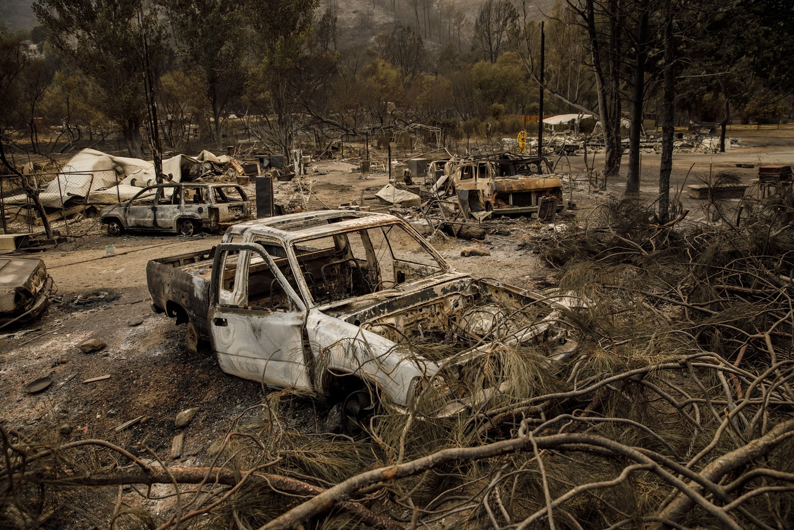 Cars and property burned by the Mendocino Complex fire near Clearlake Oaks, California, on Tuesday. The blaze, which is made up of the Ranch and River fires, has consumed more than 292,000 acres in 12 days. — Photograph: Marcus Yam/Los Angeles Times.