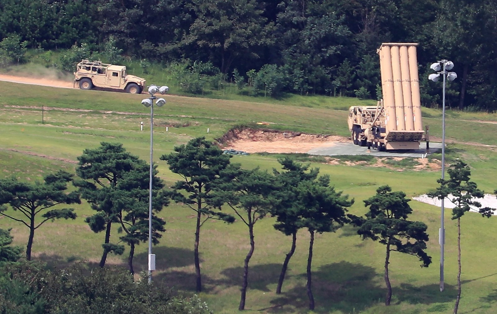 The U.S. installed the Terminal High Altitude Area Defense system last spring on a former golf course in South Korea. China objected, saying the missile defense system's radar encroaches on its sovereignty. — Photograph: Agence France-Presse/Getty Images.