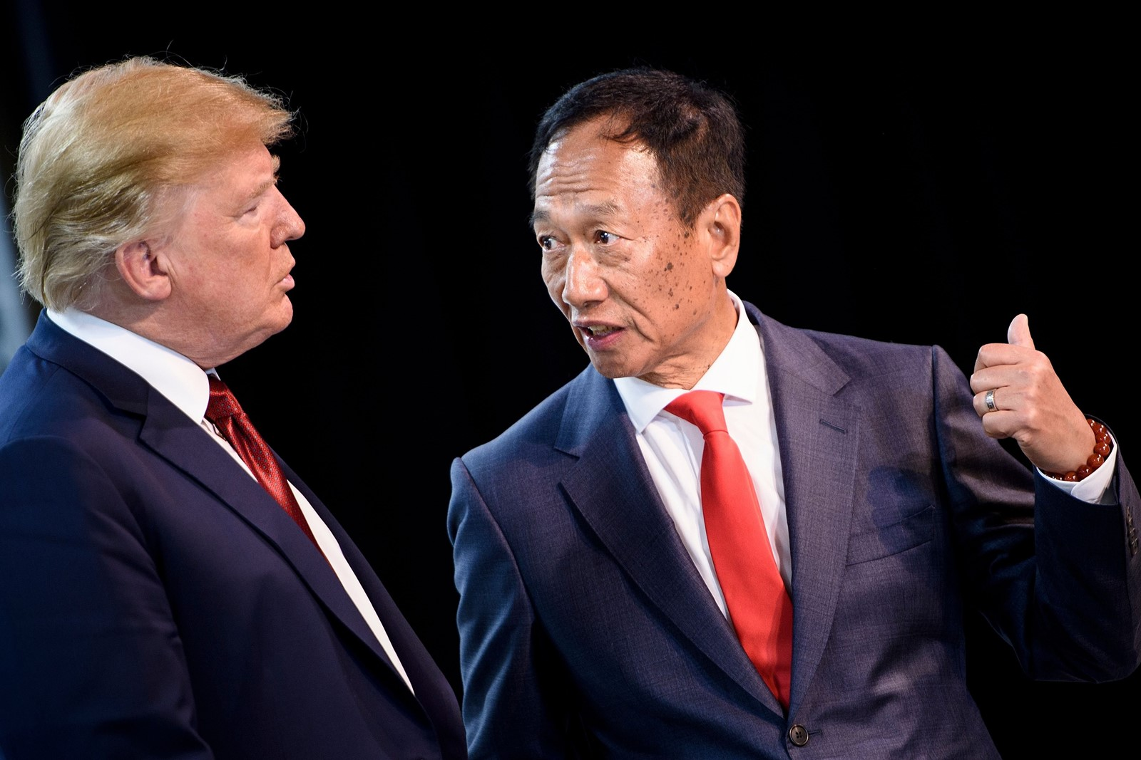 Foxconn Chairman Terry Gou, right, and President Trump in Wisconsin on Thursday. — Photograph: Brendan Smialowski Agence France-Presse/Getty Images.