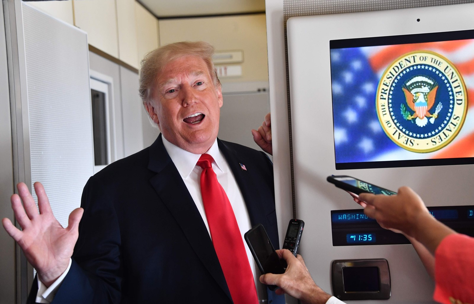 Neither President Trump nor Congress can easily get around the 1st Amendment, the Supreme Court and the states to strengthen libel law. And if they could, his inflammatory rhetoric would make him a likely target. — Photograph: Nicholas Kamm/Agence France-Presse/Getty Images.