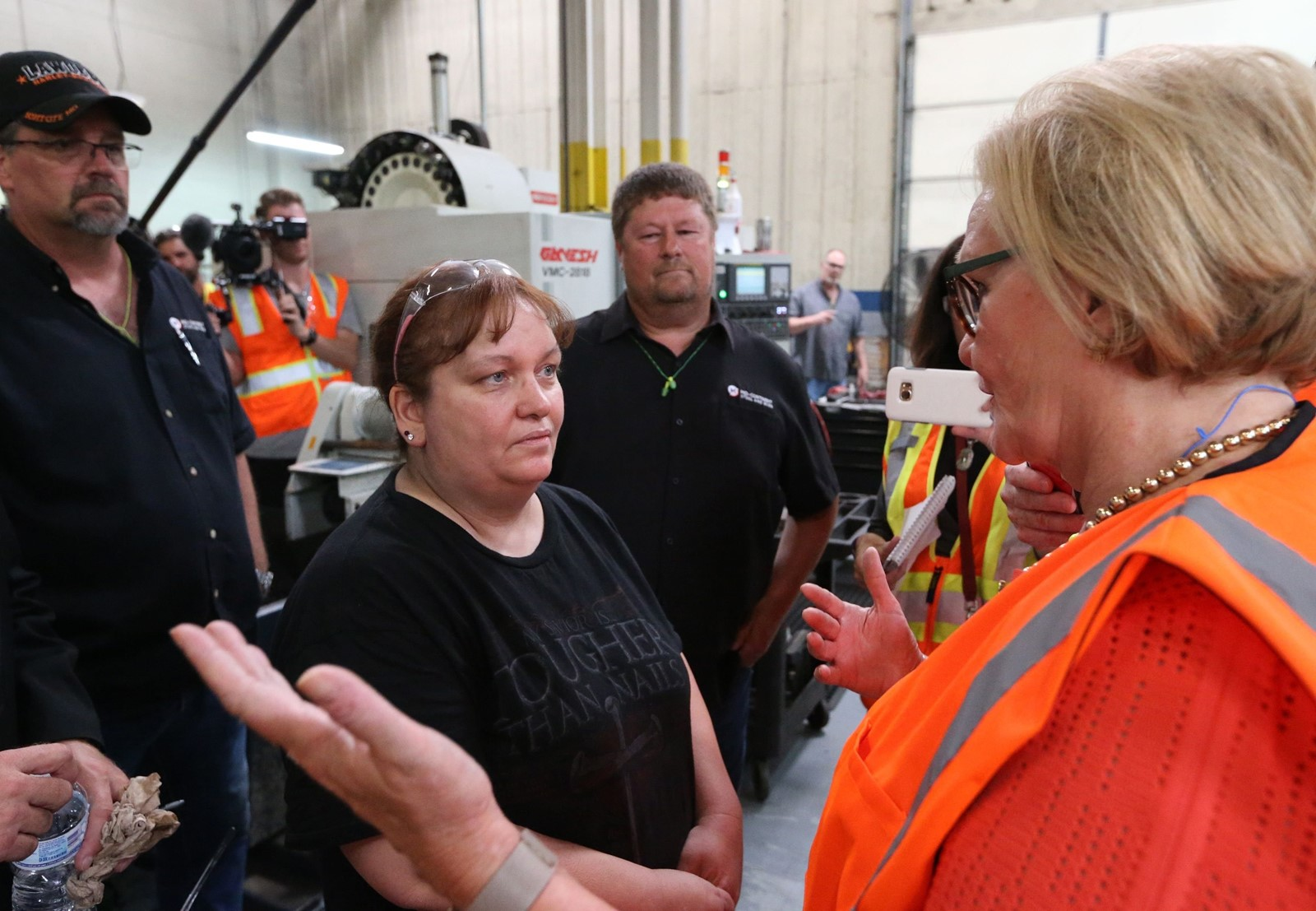 Senator Claire McCaskill (Democrat-Missouri), right, criticized Trump's tariffs when she toured the plant last week. — Photograph: Bill Greenblatt/Agence France-Presse/Getty Images.