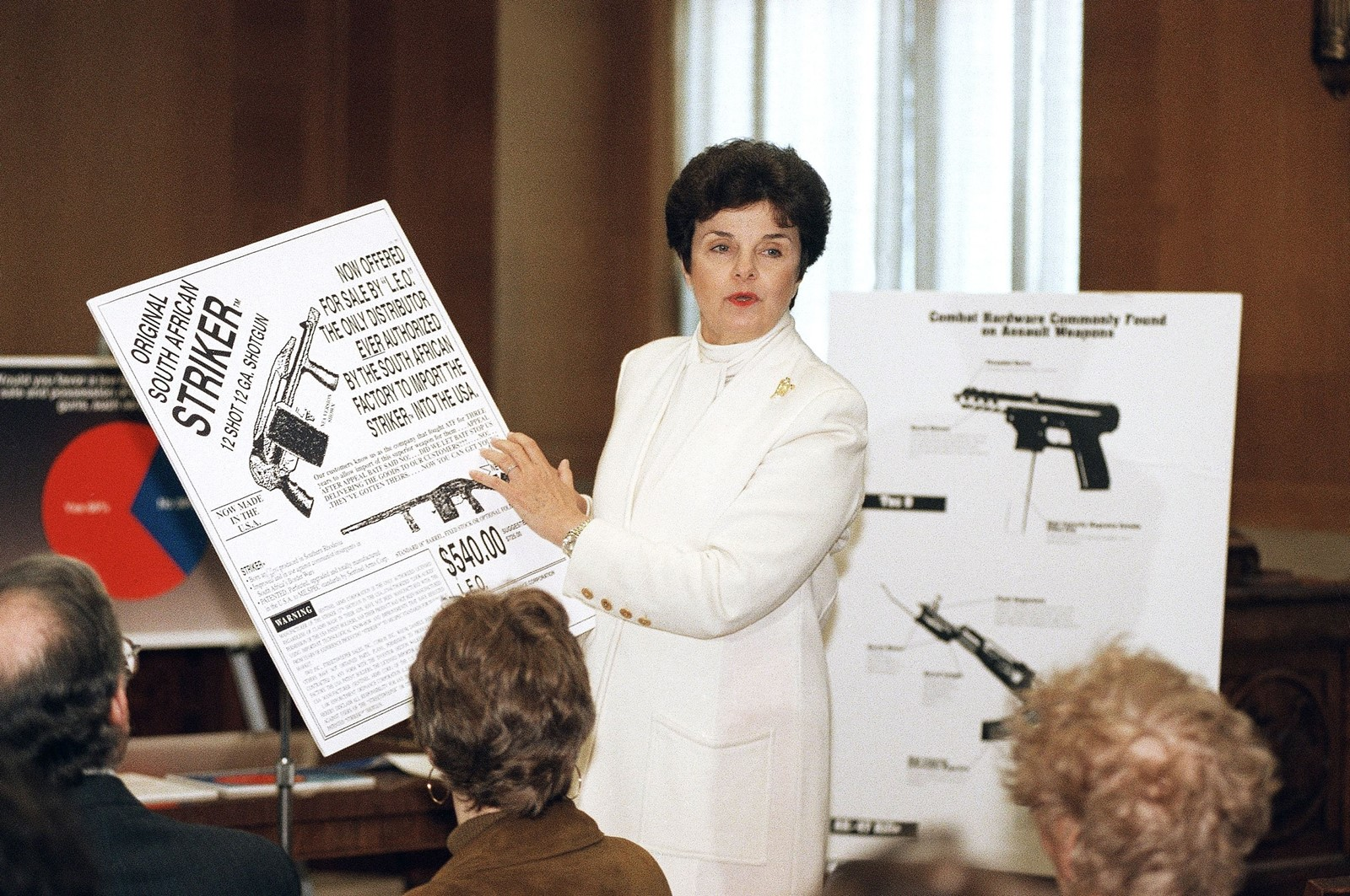 Senator Dianne Feinstein (Democrat-California) discusses guns in 1994 as Democrats push through a 10-year assault weapon ban. NRA donations to Democrats would drop from over a third of campaign funds to almost nothing. — Photograph: John Duricka/Associated Press.