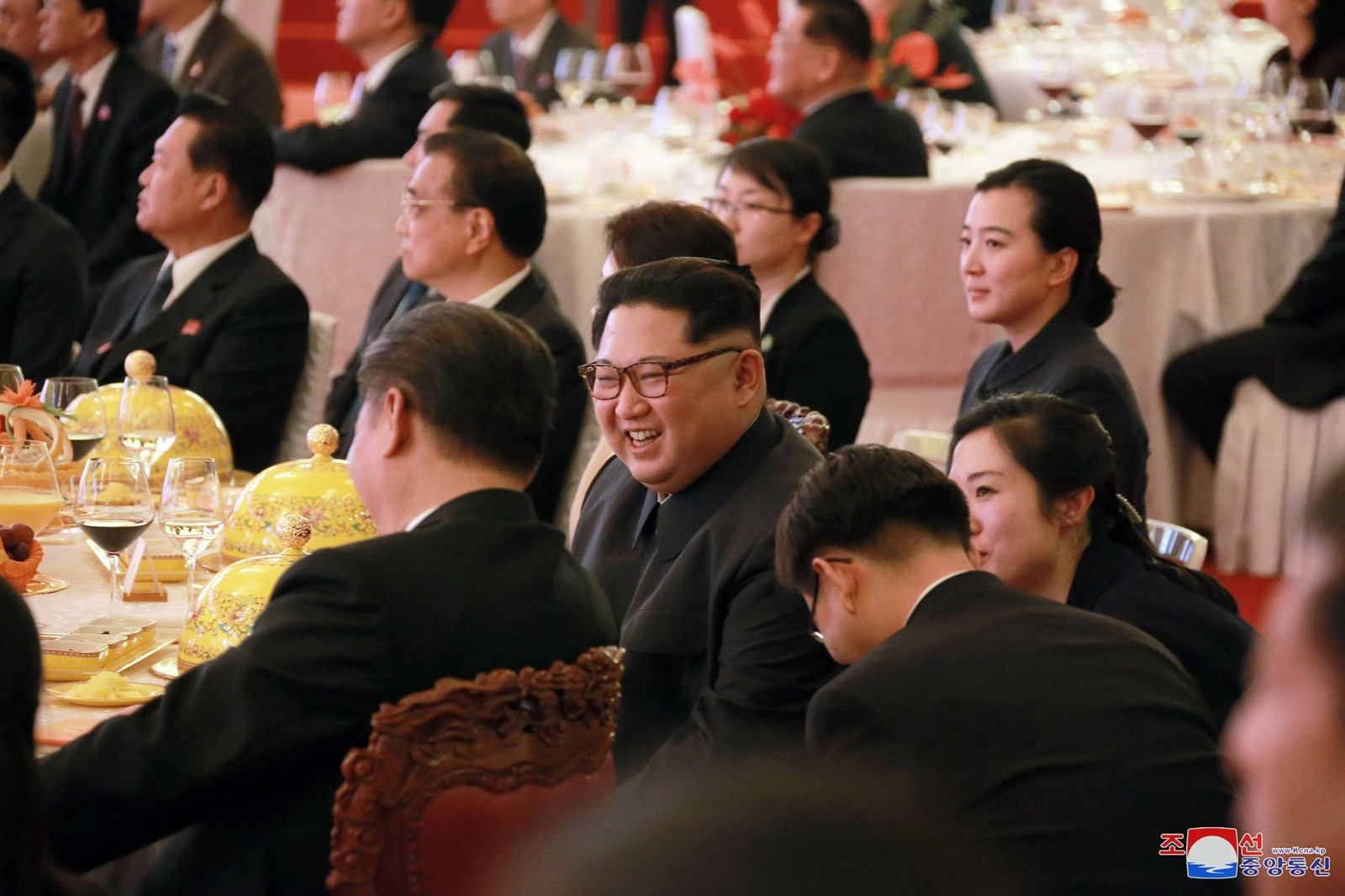 Kim, center, with host Xi at a banquet. The China appearance offered Kim a chance to strengthen his own hand before any talks involving the Koreas. — Photograph: Korean Central News Agency.