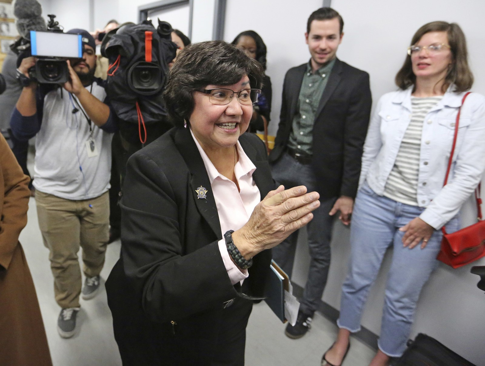 "Guadalupe ""Lupe"" Valdez was an unlikely winner as Dallas County sheriff in 2004. Democrats hope she can beat long odds again in the guber-natorial race. — Photograph: Louis DeLuca/Dallas Morning News."