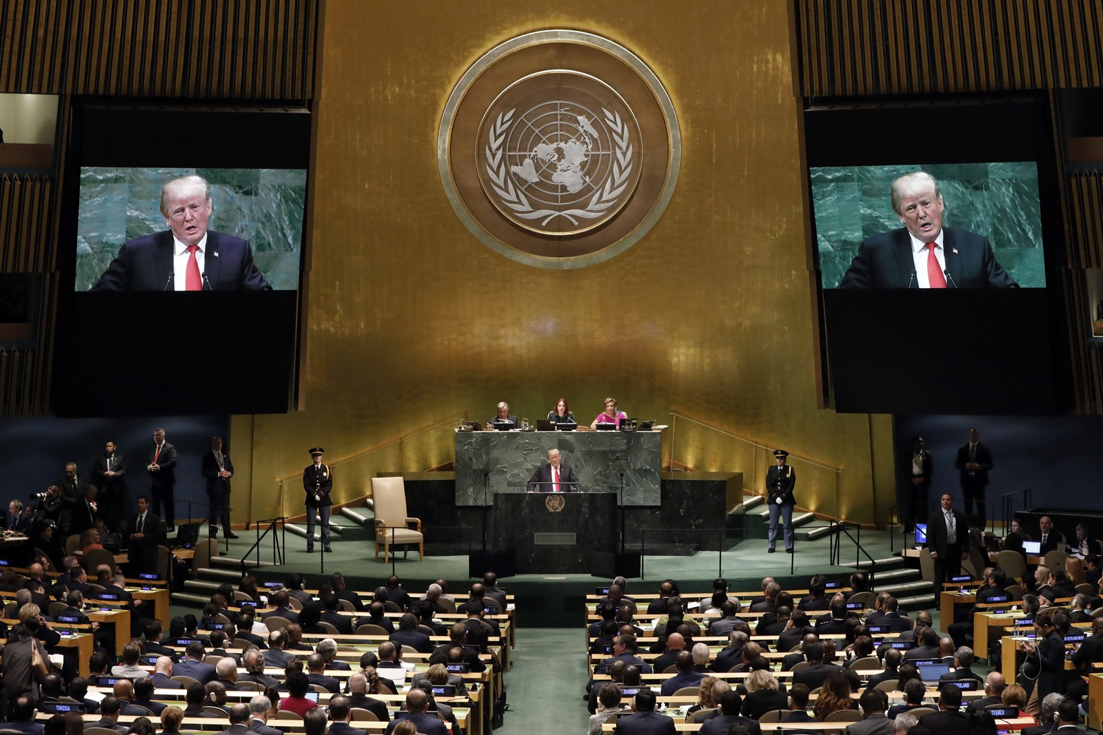 President Trump, speaking on Tuesday at the U.N. General Assembly, gained little global support for his hard-line policy proposals. — Photograph: Richard Drew/Associated Press.