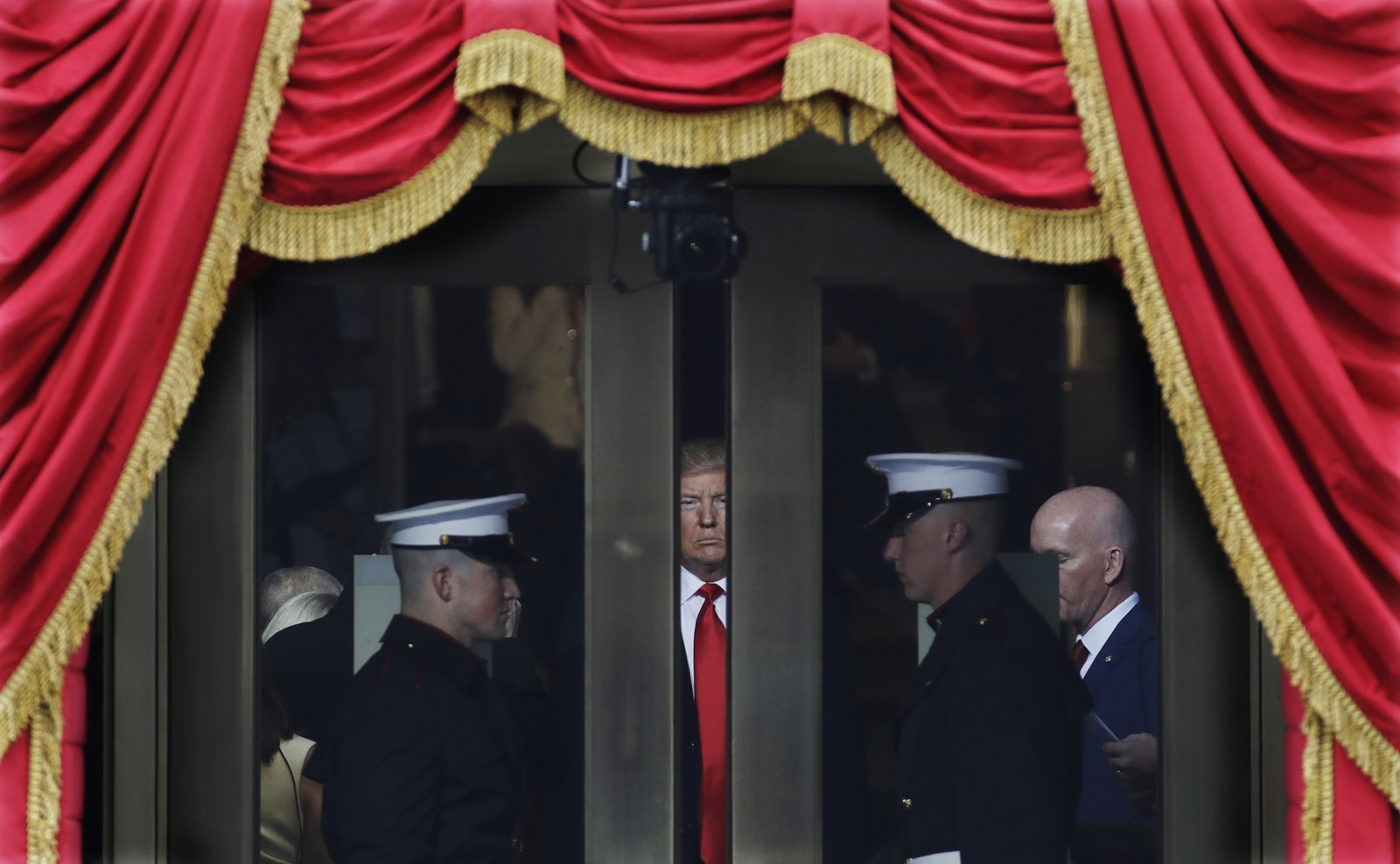 On January 20th, 2017, President-elect Donald Trump waits to be inaugurated at the U.S. Capitol building. — Photograph: Patrick Semansky/Associated Press.