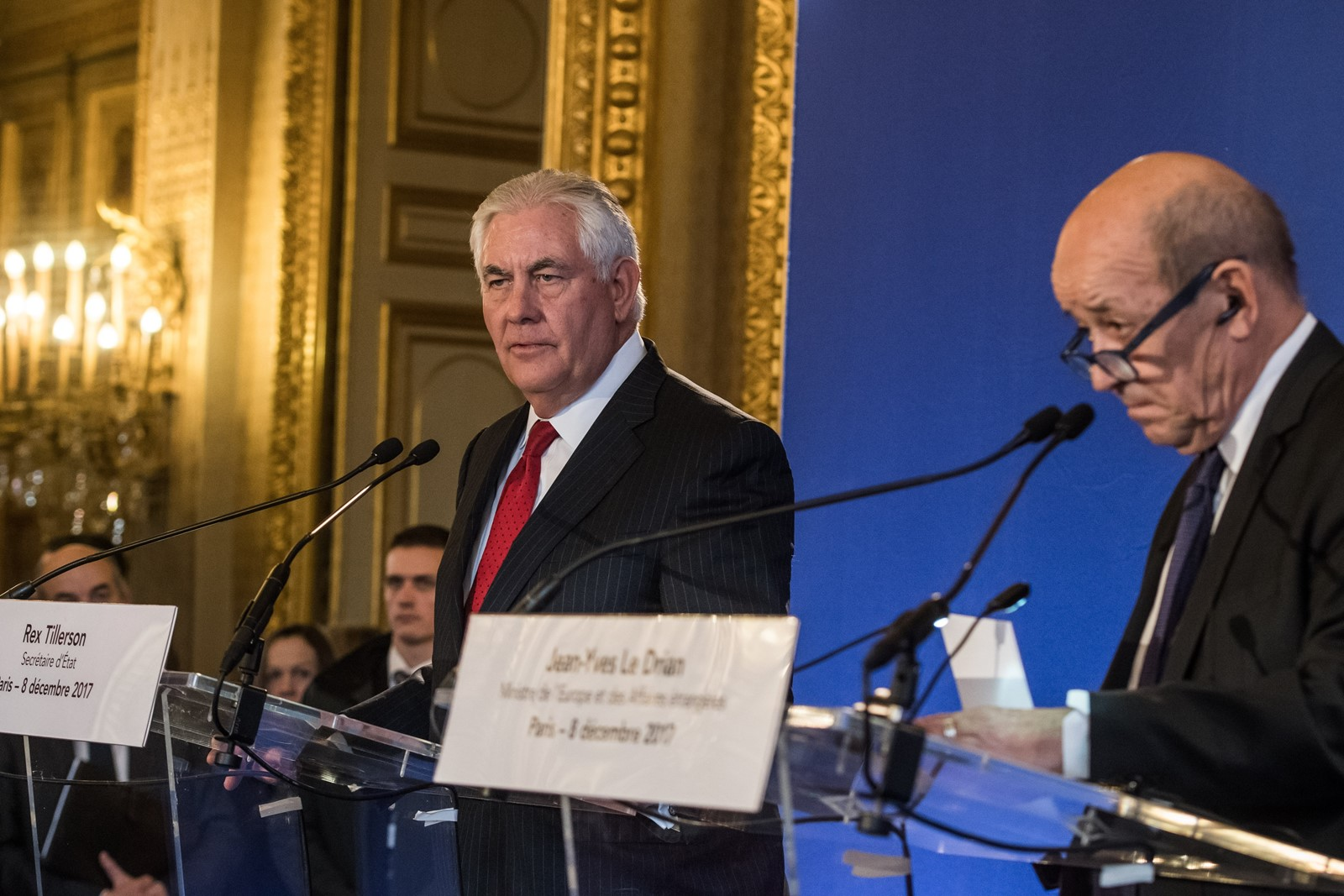 U.S. Secretary of State Rex Tillerson, left, and French Foreign Minister Jean-Yves Le Drian address reporters last week in Paris. — Photograph: Christophe Petit Tesson/European Pressphoto Agency/Shutterstock.