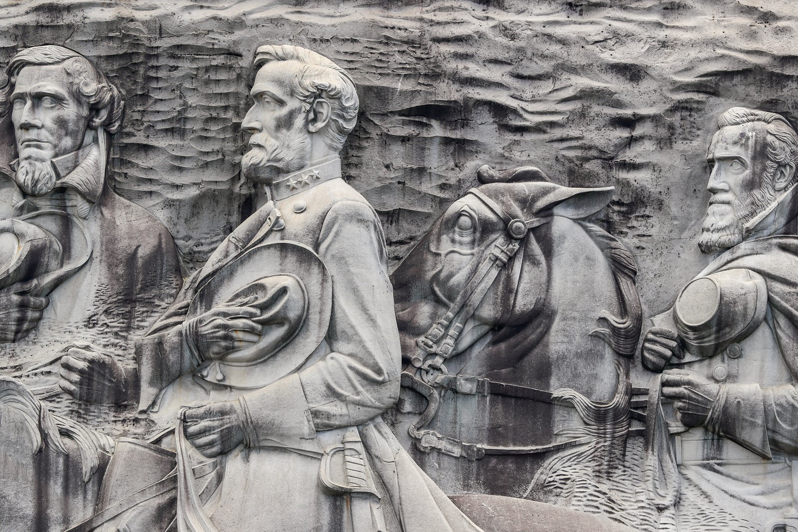 Georgia's Stone Mountain relief of Confederate President Jefferson Davis and Generals Robert E. Lee and Stonewall Jackson, from left, wasn't complete until 1972. — Photograph: Erik S. Lesser/European Pressphoto Agency.