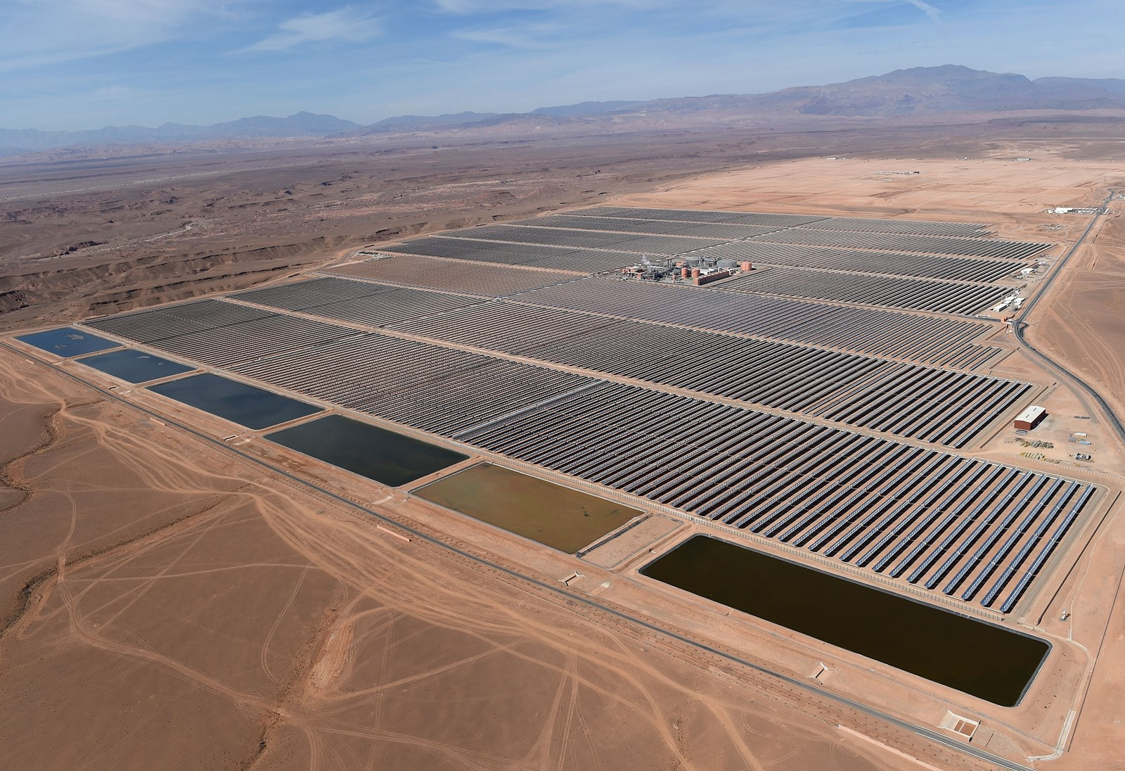 The extra water from energy farms may have major ecological, environmental and societal effects, scientists say. Above, solar mirrors in Morocco. — Photograph: Fadel Senna/Agence France-Presse/Getty Images.