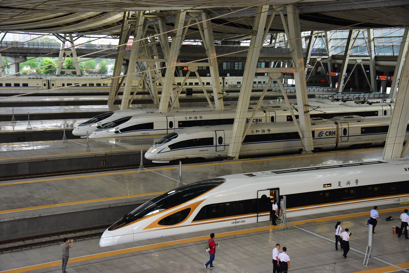 China developed its first bullet train last year, the Fuxing, which can reach a top speed of 248 mph. Engineers have also built the first Chinese jetliner. — Photograph: Visual China Group.