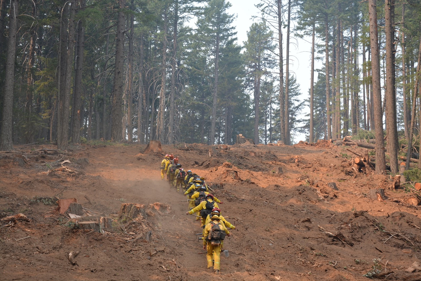 California Conservation Corps members battle the Carr fire near Redding. Crews have been beating back flames in areas where temperatures soar above 100 degrees and the smoke is so thick that breathing is difficult. — Photograph: Brice Bennett/California Department of Forestry and Fire Protection.