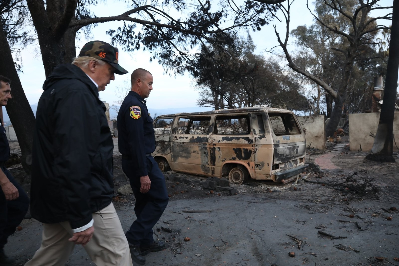 President Donald J. Trump in his second visit to California since his election, walks through a Malibu neighborhood on Saturday to assess wildfire damage. — Photograph: Genaro Molina/Los Angeles Times.
