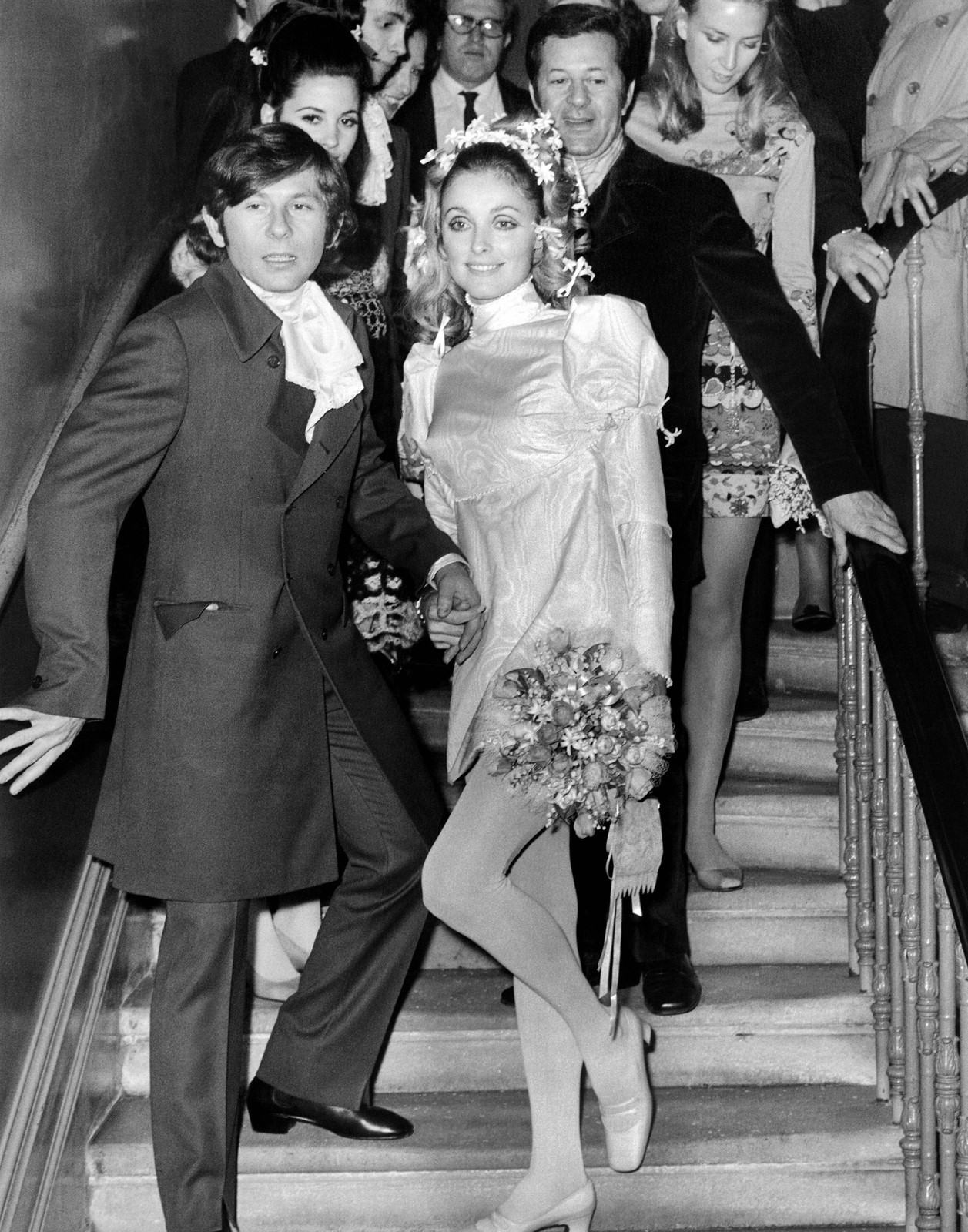 Sharon Tate, right, is shown with film director Roman Polanski at their wedding in London in 1968. — Photograph: Agence France-Presse/Getty Images.